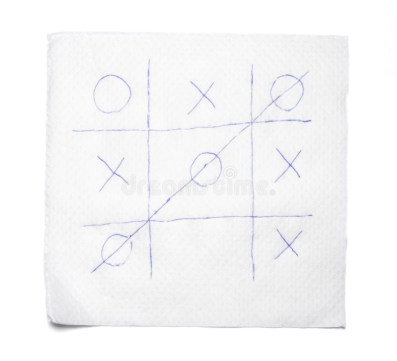 Leisure game 1. Close up of napkin and tic tac toe game on white background with clipping path royalty free stock image