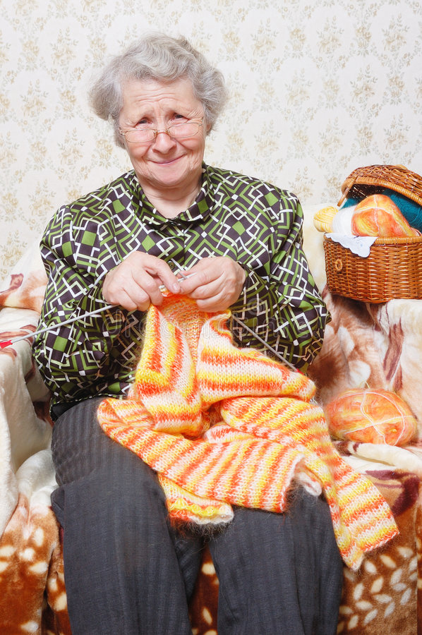 Download Leisure grandmother stock image. Image of knit, white - 7856179