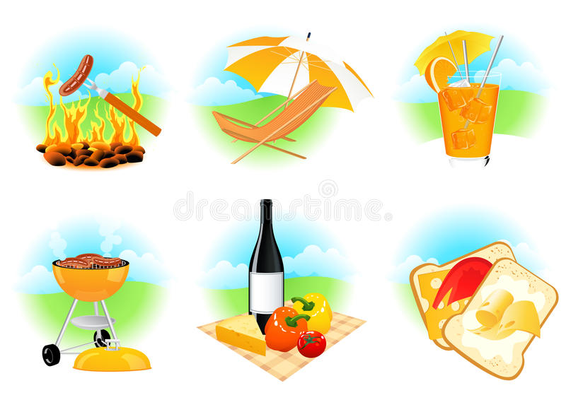 Download Leisure icons stock vector. Image of grilled, barbeque - 15472054