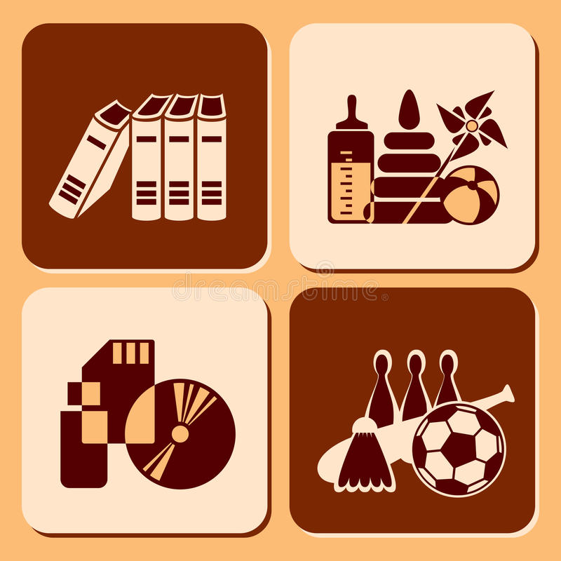 Download Leisure icons stock vector. Image of toys, brown, style - 22931523