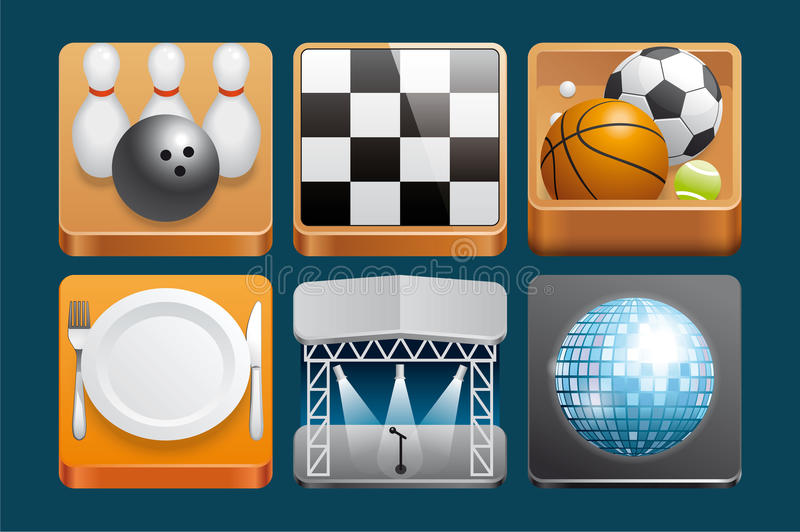Download Leisure  icons stock vector. Illustration of icon, restaurant - 29619887