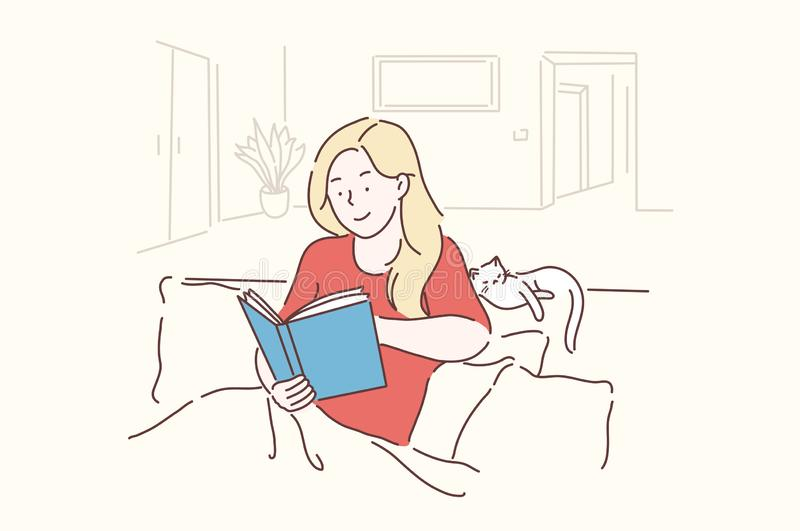Leisure, Lifestyle, nostalgically, Learning concept. Young, beautiful Woman sits in a cozy pose and reads her favorite literature, studies science. Teenager royalty free illustration