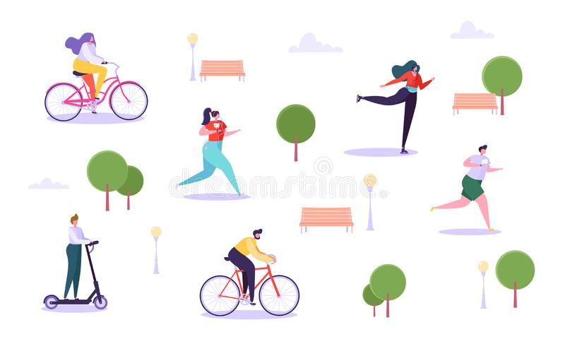 Leisure Outdoor Activities Concept. Active Characters Running in Park, Man and Woman Riding Bicycle, Girl Roller Skating. Guy on Kick Scooter. Vector stock illustration