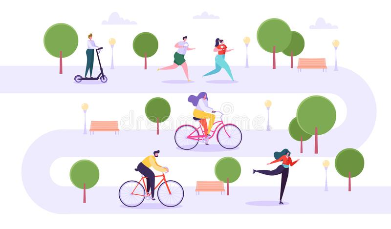 Leisure Outdoor Activities Concept. Active Characters Running in Park, Man and Woman Riding Bicycle, Girl Roller Skating. Guy on Kick Scooter. Vector royalty free illustration