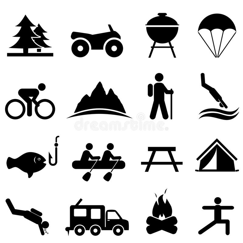 Leisure and recreation icons. Leisure, outdoors and recreation icon set royalty free illustration