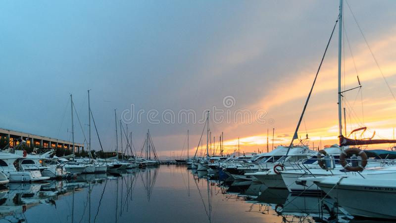 Leisure, sports port in Roses, Costa Brava, Spain. Leisure port, sports port in Roses, Costa Brava, Spain at sunset royalty free stock photos