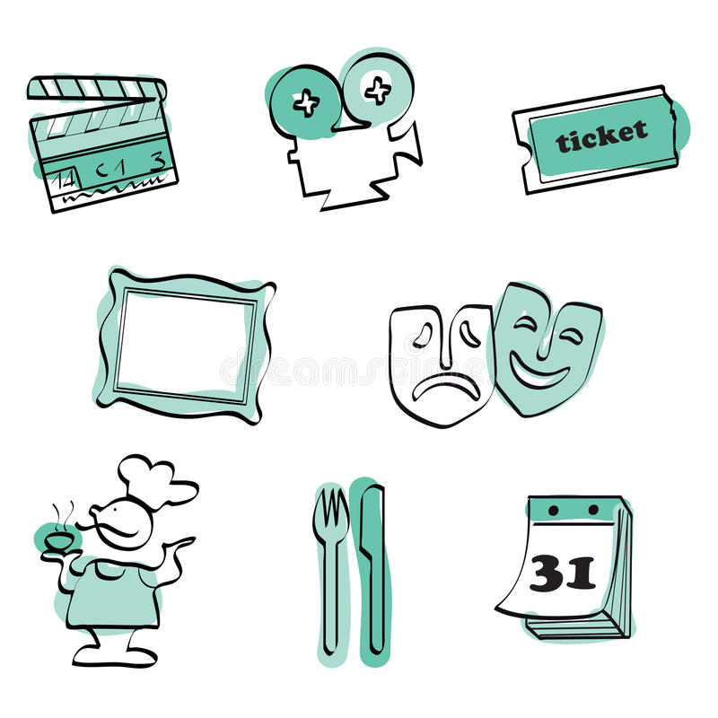Leisure time set icon vector. Cinema, theatre and leisure time hand draw icon set + vector eps file royalty free illustration
