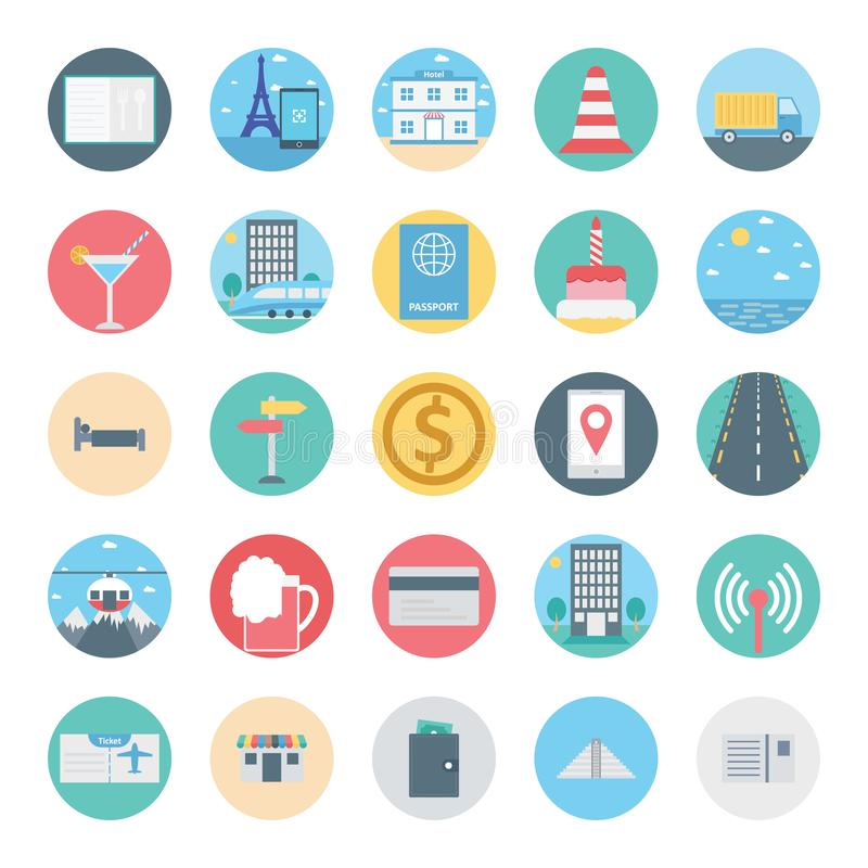 Leisure,Travel and Tour Isolated Vector Icon consist with menu, building, train, passport, road, bed, coin and wallet, vector illustration