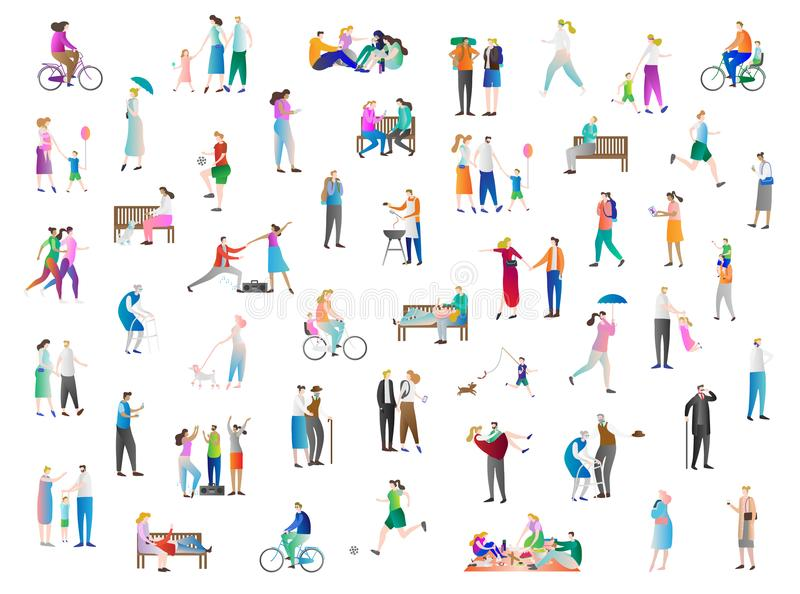 Leisure vector illustration icon collection set. Family enjoy holidays, summer, outdoors and picnic. Young person in vacation. Leisure vector illustration icon stock illustration