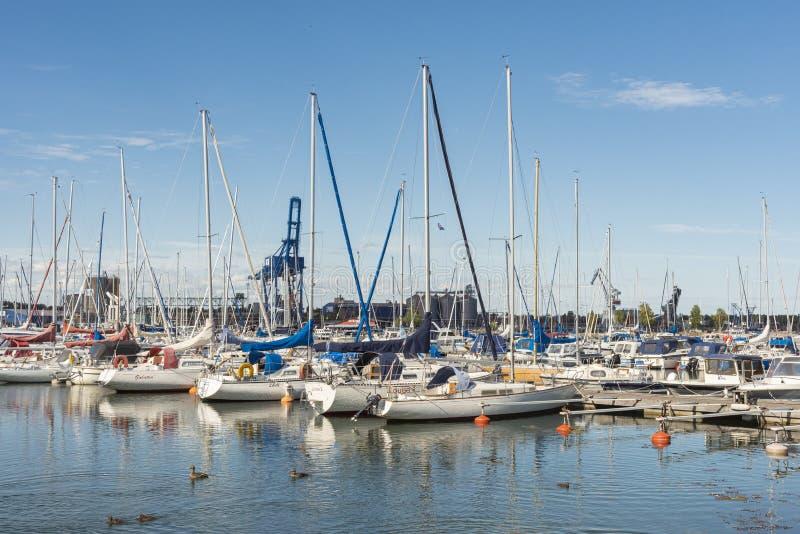 Leisureboats in Fishingharbour marina Oxelosund Sweden stock photo