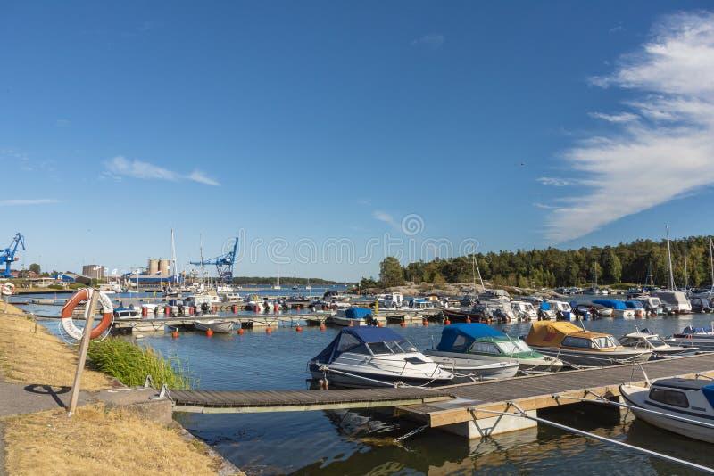 Leisureboats moored in marina Oxelosund Sweden stock photos