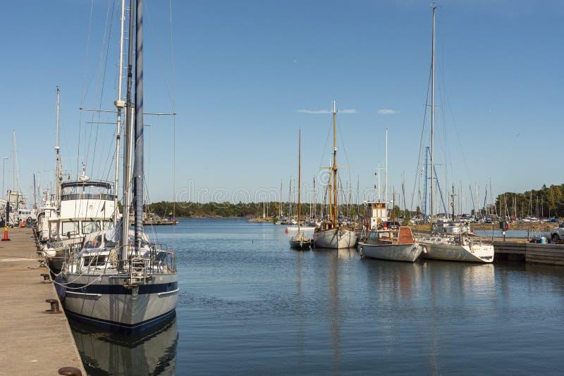 Leisureboats moored in Oxelosund Sweden stock photo