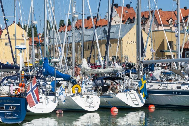 De gasthaven van Visby van Leisureboats stock afbeeldingen