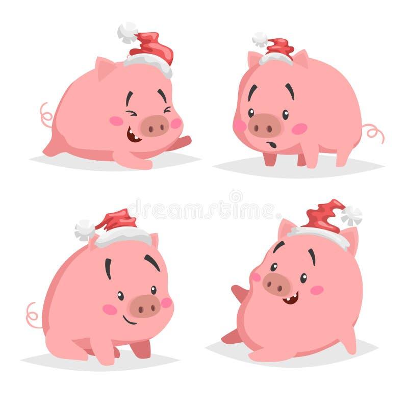 Leitão bonito dos desenhos animados nos chapéus de Santa ajustados Símbolo chinês de 2019 anos Coleção engraçada e alegre dos ani ilustração stock