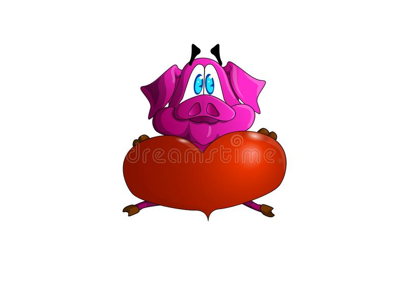 Leitão no abraço um outro com o coração Porco doce, amando ilustração royalty free
