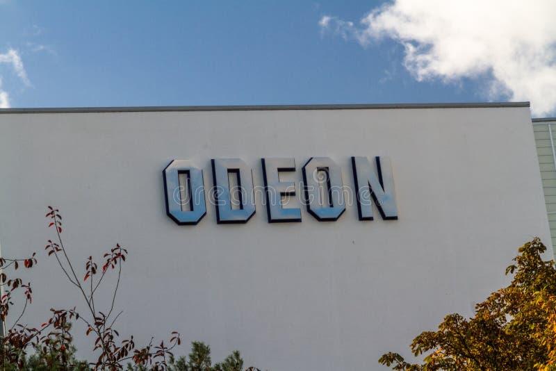 Leitartikel, Odeon-Kino-Theaterzeichen lizenzfreies stockfoto