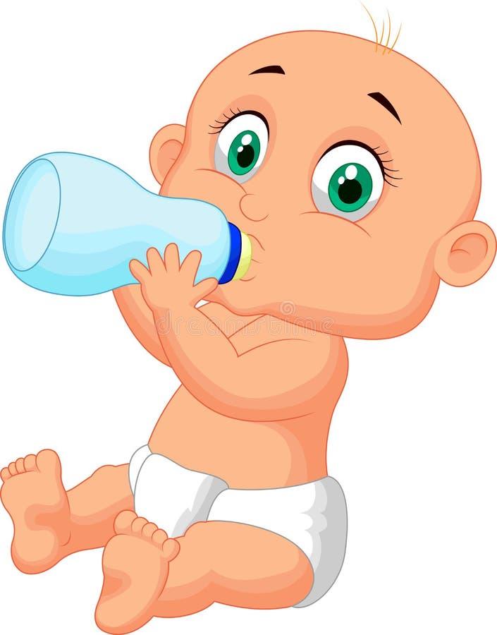 Leite bebendo dos desenhos animados bonitos do bebê da garrafa ilustração do vetor