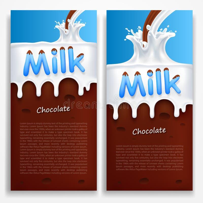 leite com chocolate ilustração royalty free