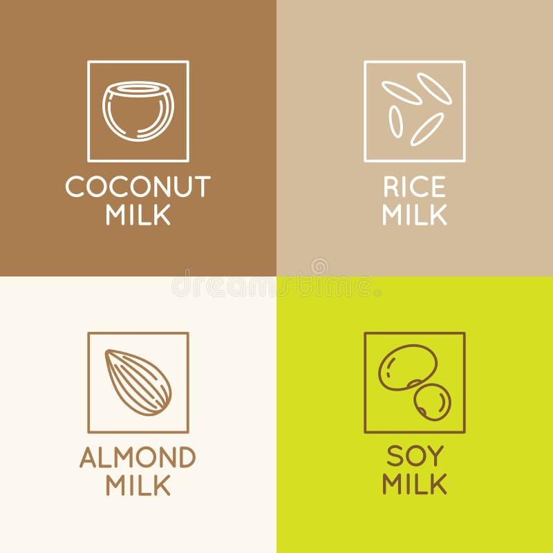 Leite da amêndoa, do coco, do arroz e de soja ilustração stock