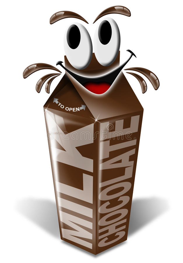 Leite de chocolate da caixa e dos desenhos animados ilustração do vetor