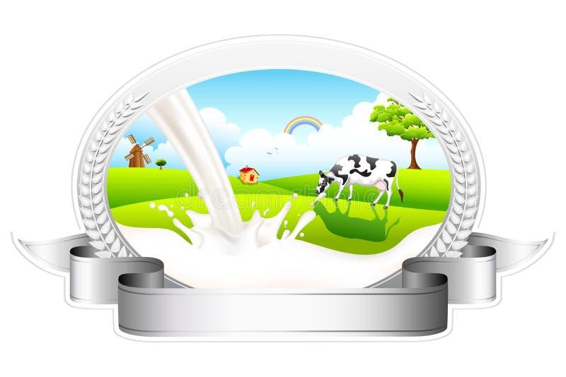 Leite de fluxo com pastagem da vaca ilustração stock