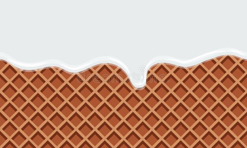 Leite de fluxo sem emenda no fundo doce do alimento da textura da bolacha ilustração stock