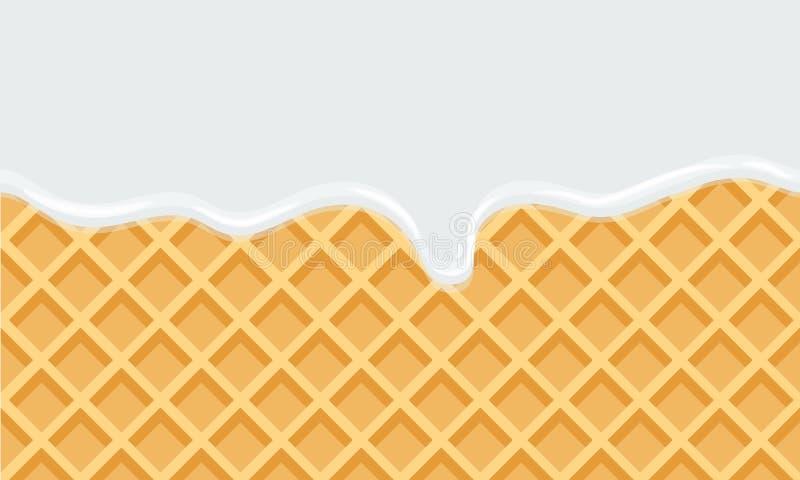 Leite de fluxo sem emenda no fundo doce do alimento da textura da bolacha ilustração do vetor