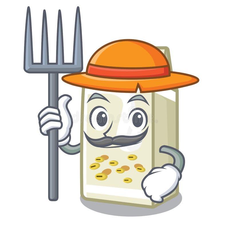 Leite de soja do fazendeiro em uma caixa dos desenhos animados ilustração stock