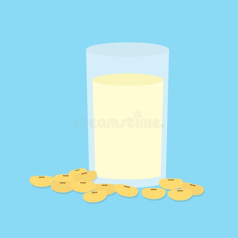 Leite de soja no vidro e no feijão de soja ilustração stock