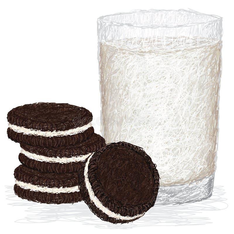 Leite e biscoitos ilustração royalty free
