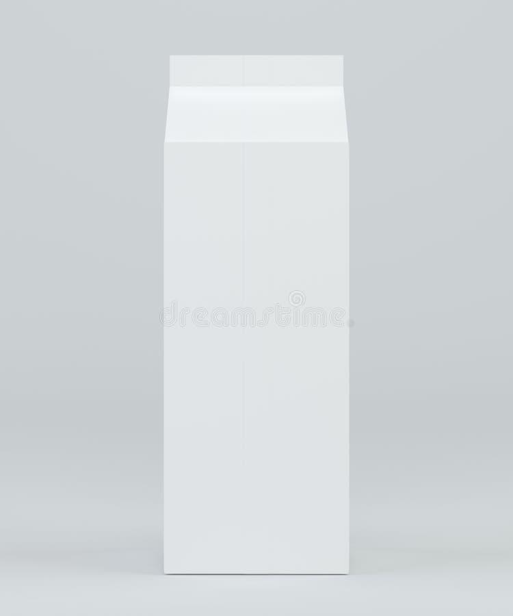 Leite e Juice Carton Packaging no fundo branco rendição 3d ilustração stock