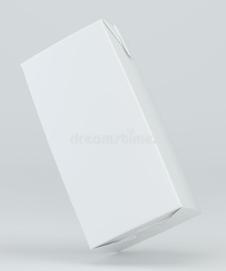 Leite e Juice Carton Packaging no fundo branco rendição 3d ilustração do vetor