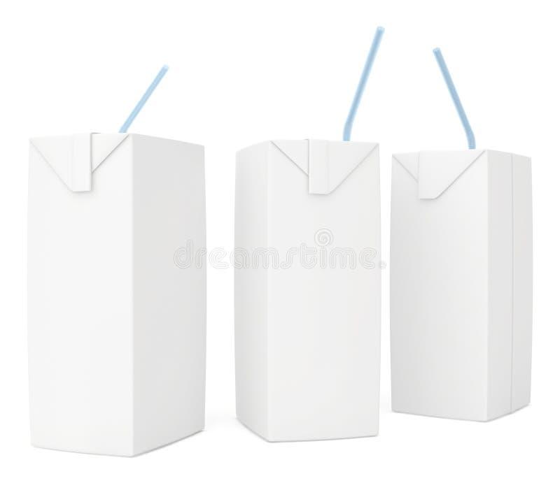 Leite ou suco branco ajustado da caixa 3d rendem ilustração stock