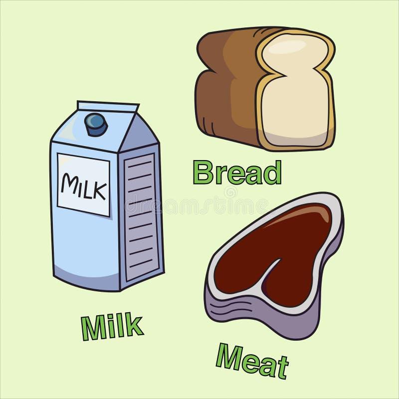 Leite, pão e carne ilustração stock