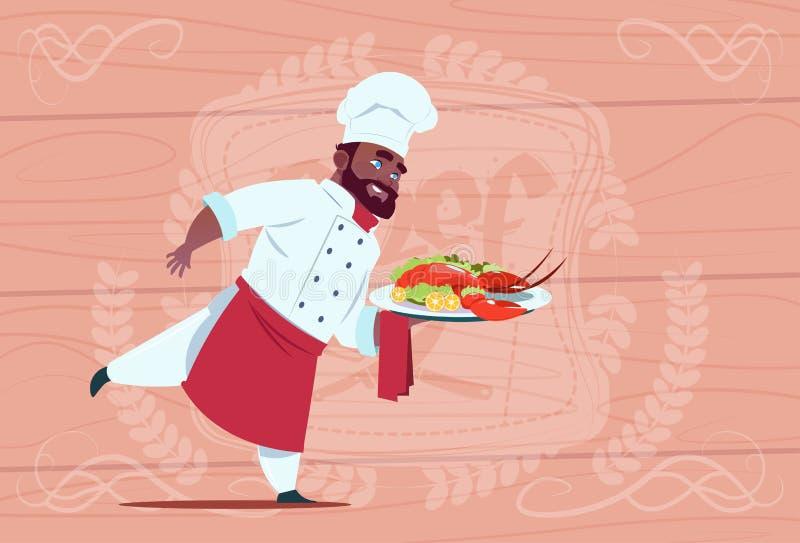 Leiter Afroamerikaner-Chef-Koch-Holding Tray With Lobster Smiling Cartoon in der weißen Restaurant-Uniform über hölzernem vektor abbildung