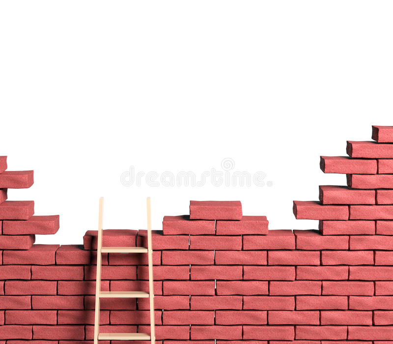 Leiter auf Backsteinmauer stock abbildung