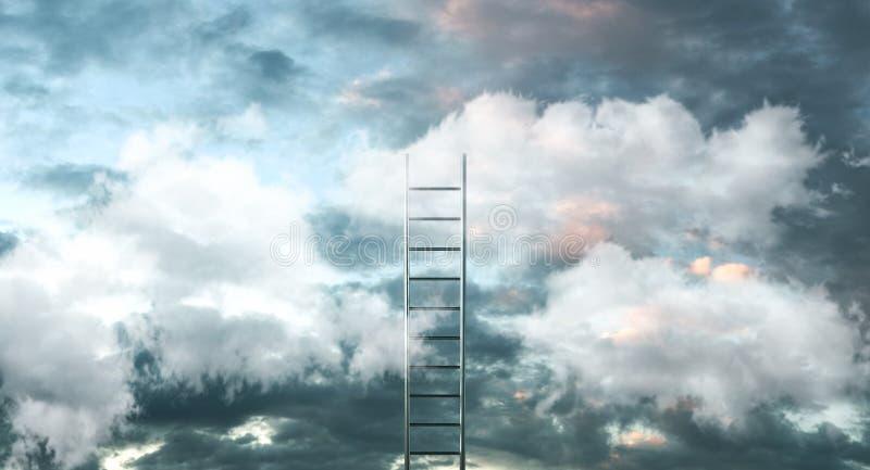 Leiter auf Wolken mit Himmelhintergrund - Weise zum Erfolgskonzept Abbildung 3D stock abbildung