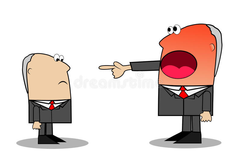 Leiter in der Wut schreit am Untergebenen lizenzfreie abbildung