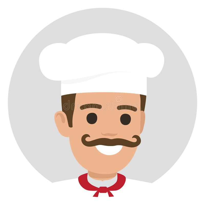 Leiter-Kocher-Avatara-Profil Moustached lächelndes stock abbildung