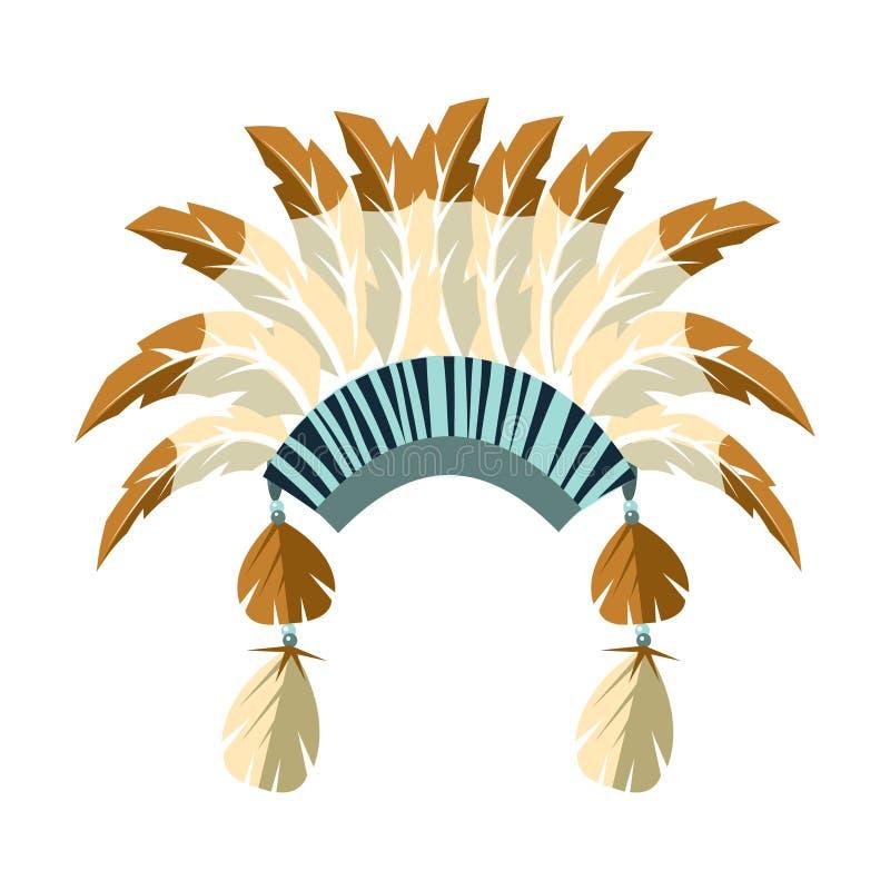 Leiter-Kriegs-Mütze mit Federn, gebürtiges indianisches Kultur-Symbol, ethnischer Gegenstand von Nordamerika lokalisierte Ikone lizenzfreie abbildung