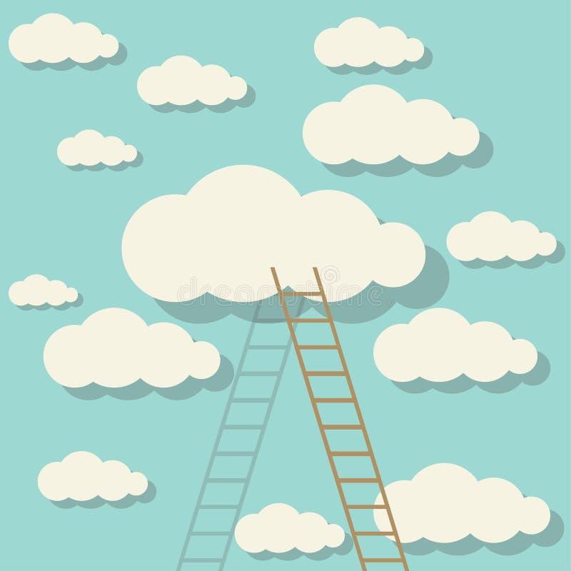 Leiter, welche die Wolke im Himmel berührt stock abbildung