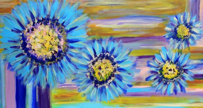 A leiteria azul floresce a pintura ilustração stock