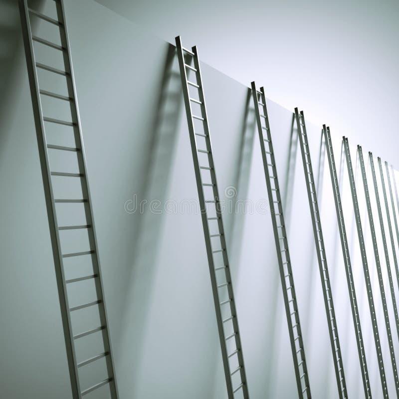 Leitern entlang der Wand stockbild