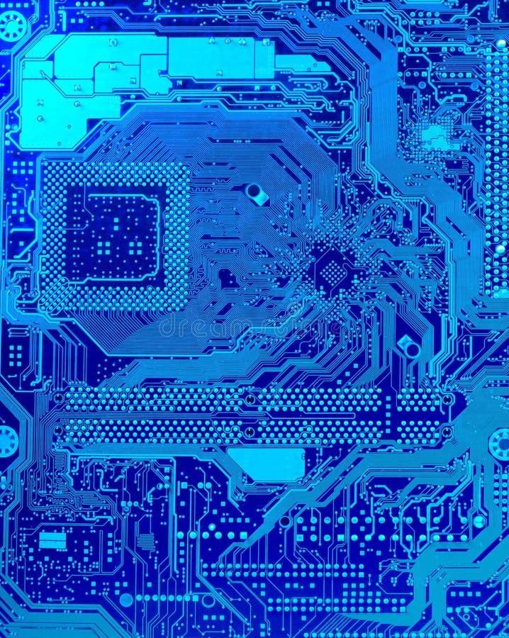 Leiterplatte im Blau lizenzfreie stockfotografie