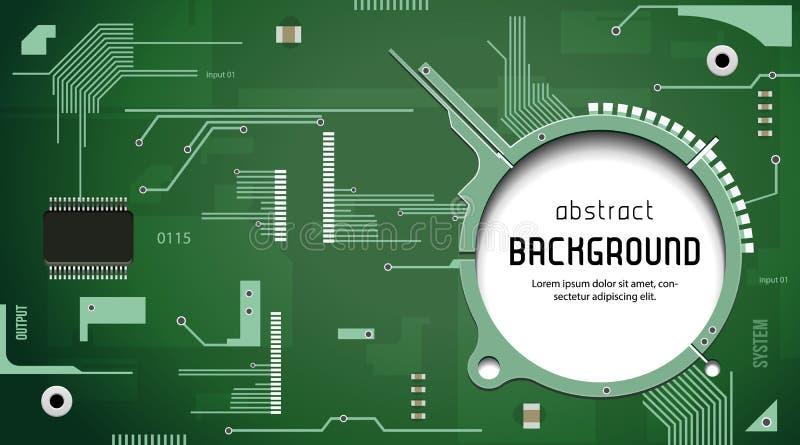 Leiterplatte mit Chip CPU-Prozessor-Vektor-Hintergrund-Grün lizenzfreie abbildung