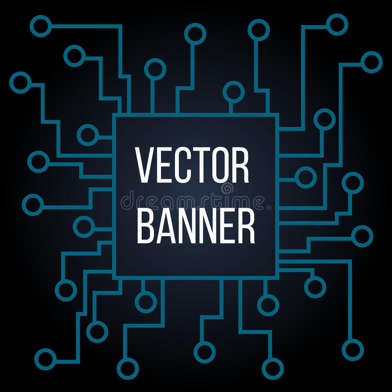 Leiterplatte-Vektorhintergrund Prozessor und Chip, Technik und Technologie, Motherboard und Computer entwerfen, Illustration vektor abbildung