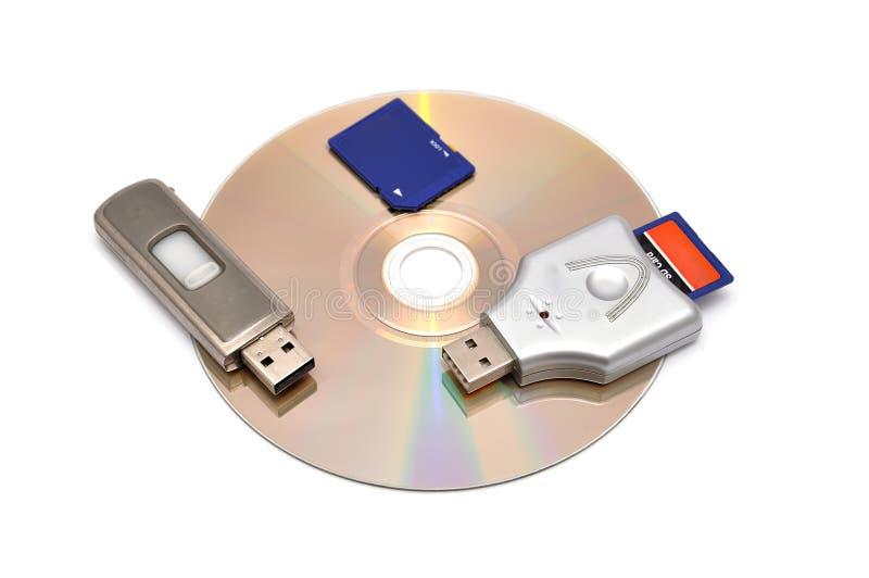 Leitor de cartão, de flash do USB movimentação e cartão de memória imagem de stock royalty free