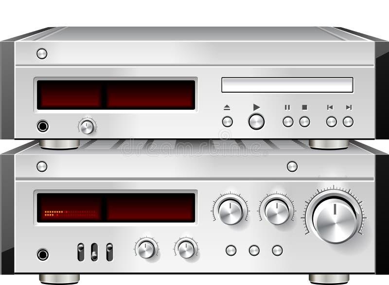 Leitor de cd audio estereofónico do compact disc da música com cremalheira do amplificador ilustração stock