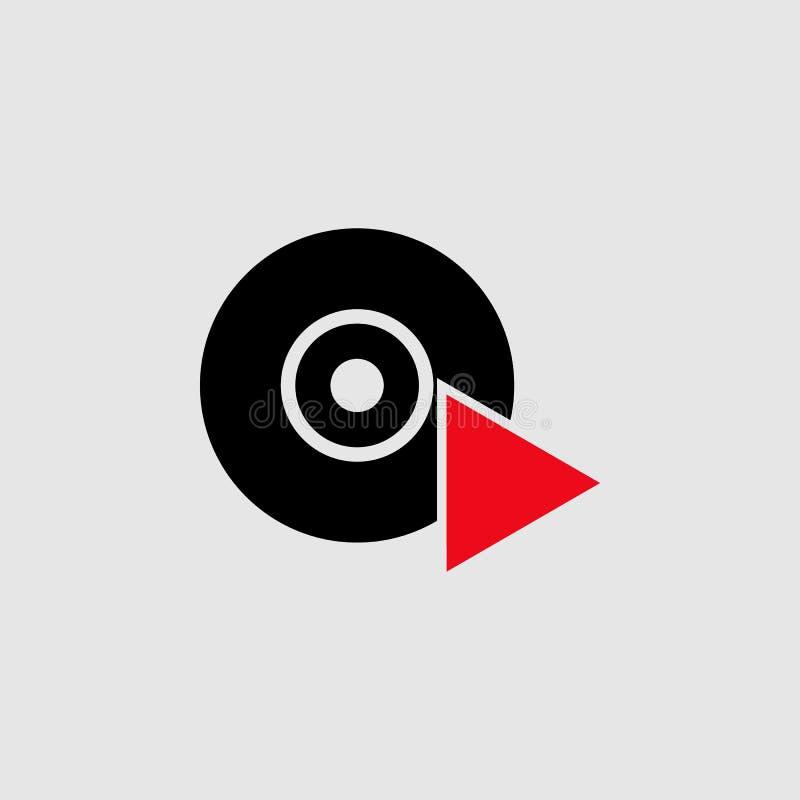 Leitor de cd com ícone do triângulo Elemento do ícone do teatro para apps móveis do conceito e da Web O leitor de cd detalhado co ilustração royalty free
