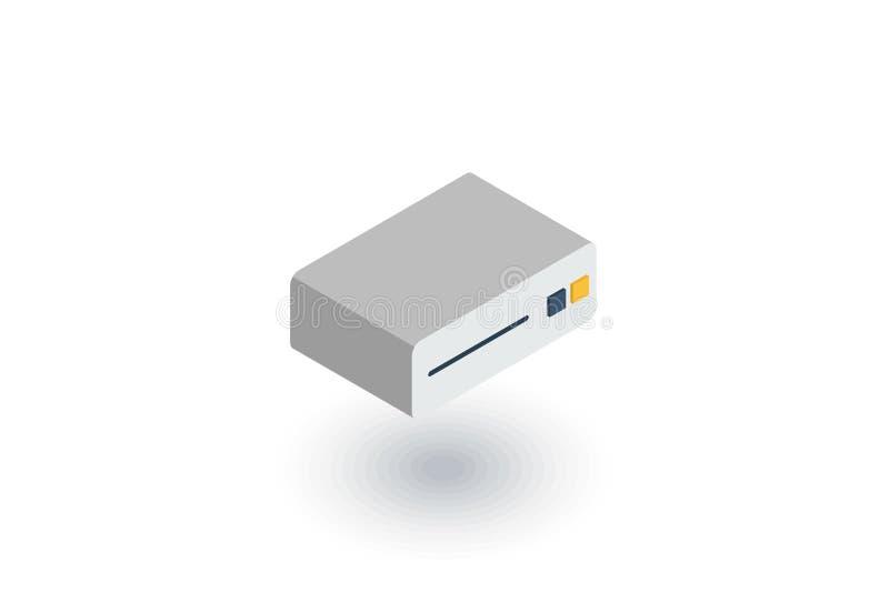 Leitor de cd, console, DVD, ícone CD-ROM liso isométrico vetor 3d ilustração royalty free